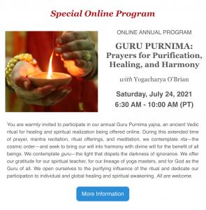 Guru Purnima with Yogacharya O'brain